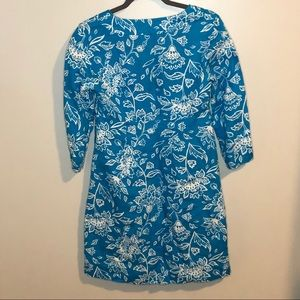 Boden Dresses - Boden blue linen tropical print dress 4 long